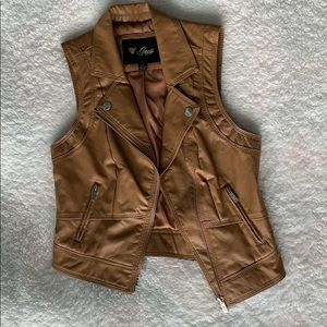 Guess Brown Leather Vest Small
